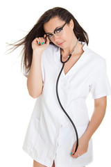 Sexy nurse with stethoscope.  female doctor - isolated over a wh