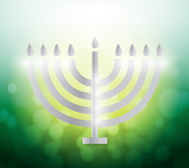 hanukah candles over a colorful green illustration