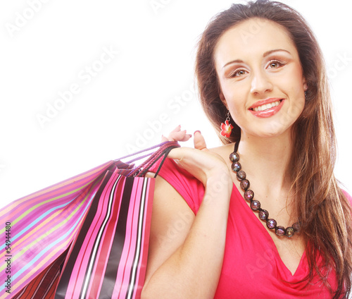 shopping woman happy holding  bags.