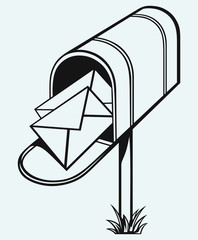 Open Mailbox with letters isolated on blue background