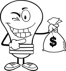 Outlined Light Bulb Cartoon Character Holding A Bag Of Money