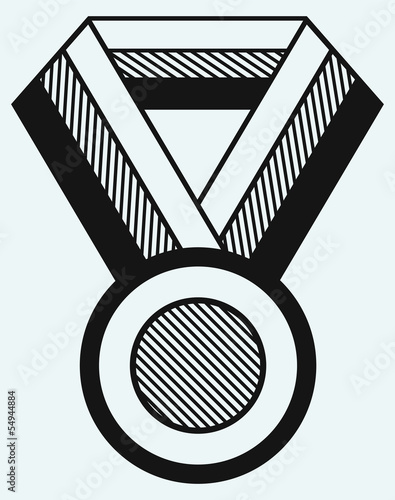 Medal with ribbon isolated on blue background