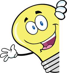 Light Bulb Cartoon Character Waving Behind A Sign