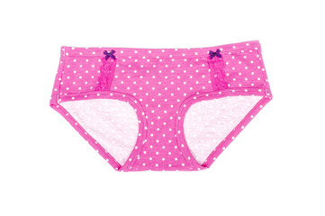 Pink Cotton Panties with White Polka Dot Isolated