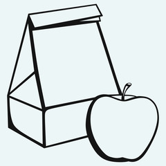 Paper bag and apple isolated on blue background
