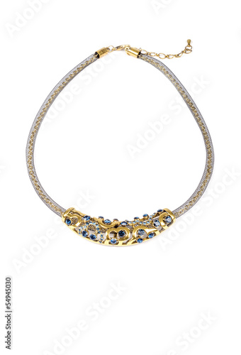 Gold Necklace with Blue Stones on White Background