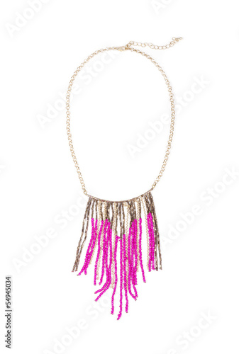 Pink Bead Necklace Isolated on White