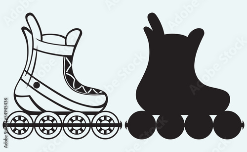 Roller skate isolated on blue background