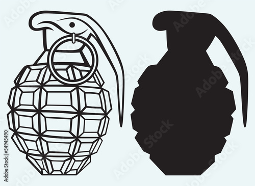 Image of an manual grenade isolated on blue background - 54945490