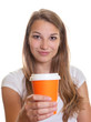 Young girl showing a cup of coffee