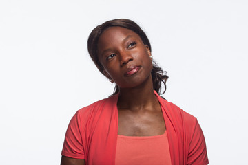 Young African-American woman posing thoughtfully, horizontal