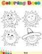 Coloring Book Page Sun Cartoon Character 2