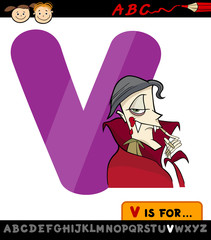 letter v with vampire cartoon illustration