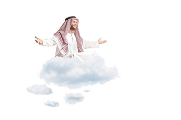 Young arab person sitting on a cloud