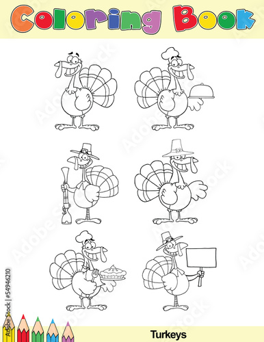 Coloring Book Page Turkey Cartoon Character