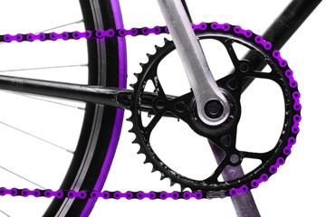 Purple bicycle chain