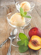 Peach (nectarine) ice cream. Selective focus