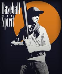 baseball batter vector illustration poster