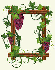 Wooden frame with leafs and grapes, vector