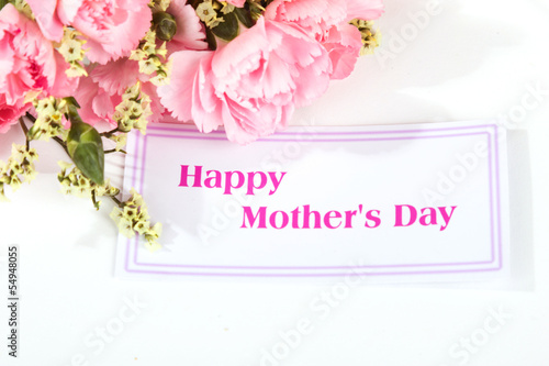 Pink carnations and mother's Day gift, greeting cards.