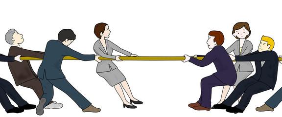 ビジネスマンの綱引き