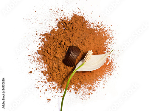 flower and candy on a cocoa powder
