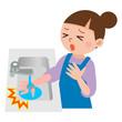 火傷の応急処置をする女性