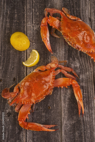 Cooked crab on a rustic background.
