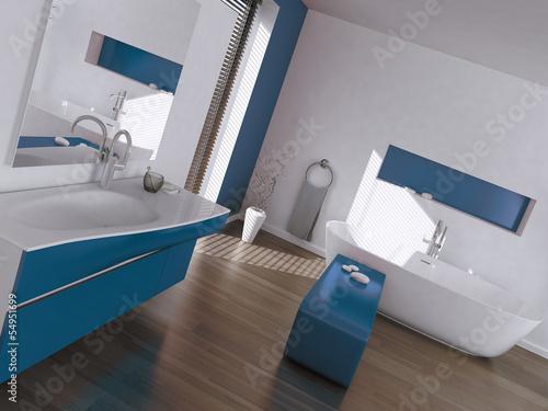 Modern luxury blue and white bathroom interior