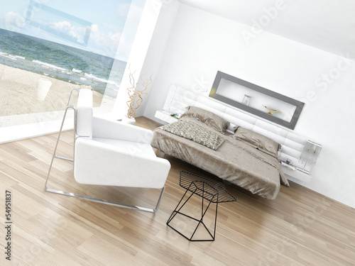 Modern Design Bedroom Interior with Seascape View