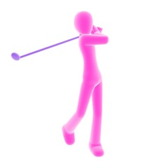 pink person playing golf