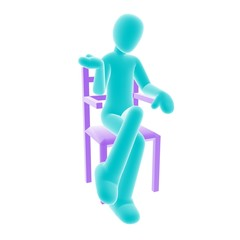 blue person sitting A