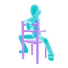 blue person sitting C
