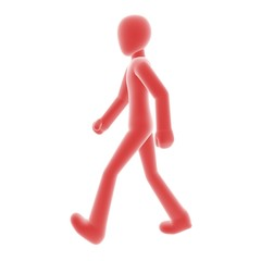 red person walking left A