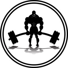 Body Builder Deadlifting SIlhouette Logo