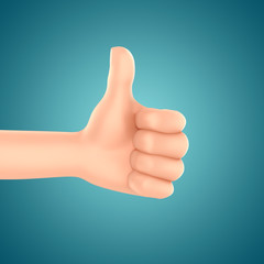 3d render of a hand with thumbs up