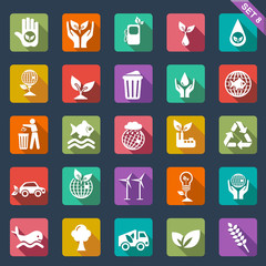 Ecology icon set-  flat design