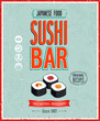 Vintage Sushi Bar Poster. Vector illustration.