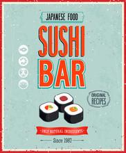 Klassiker Sushi Bar Poster. Vektor-Illustration.