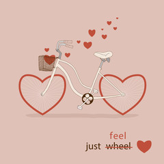 Vintage card. Pink bike with hearts instead of wheels.