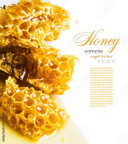 close-up pieces of honeycomb with honey