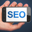 SEO web design concept: SEO on smartphone