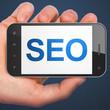 SEO web design concept: SEO on smartphone
