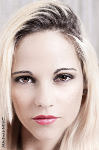 high key portrait of attractive blonde woman