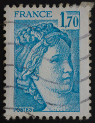 French postage stamp, Marianne de Cheffer blue