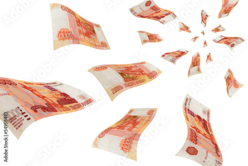 Russian money in flight.