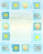 summer frame background with suns, shells and scallops in square