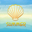 summer label with shell