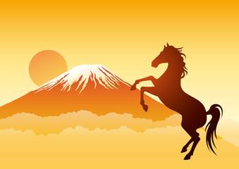 富士山 馬 朝 ヨコ