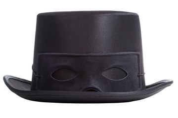 Black top hat with mask isolated on white background